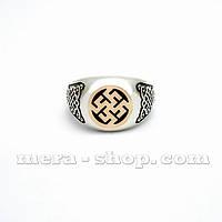 Перстень Цветок Папоротника серебро с золотом
