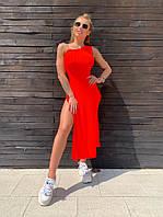Платье Doratti макси стильное в рубчик с разрезами и с силиконовой бретелью разные цвета Smdor3448