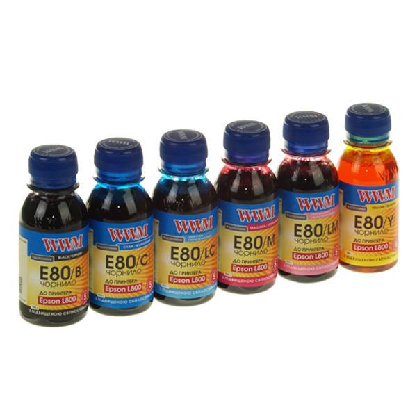 Комплект чернил WWM Epson L800, 6 x 100 мл c повышенной светостойкостью (E80SET-2), краска для принтера эпсон