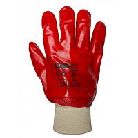 Рукавиці з ПВХ покриттям 27 см червоні бензомаслостійкі 27 см, Квітка