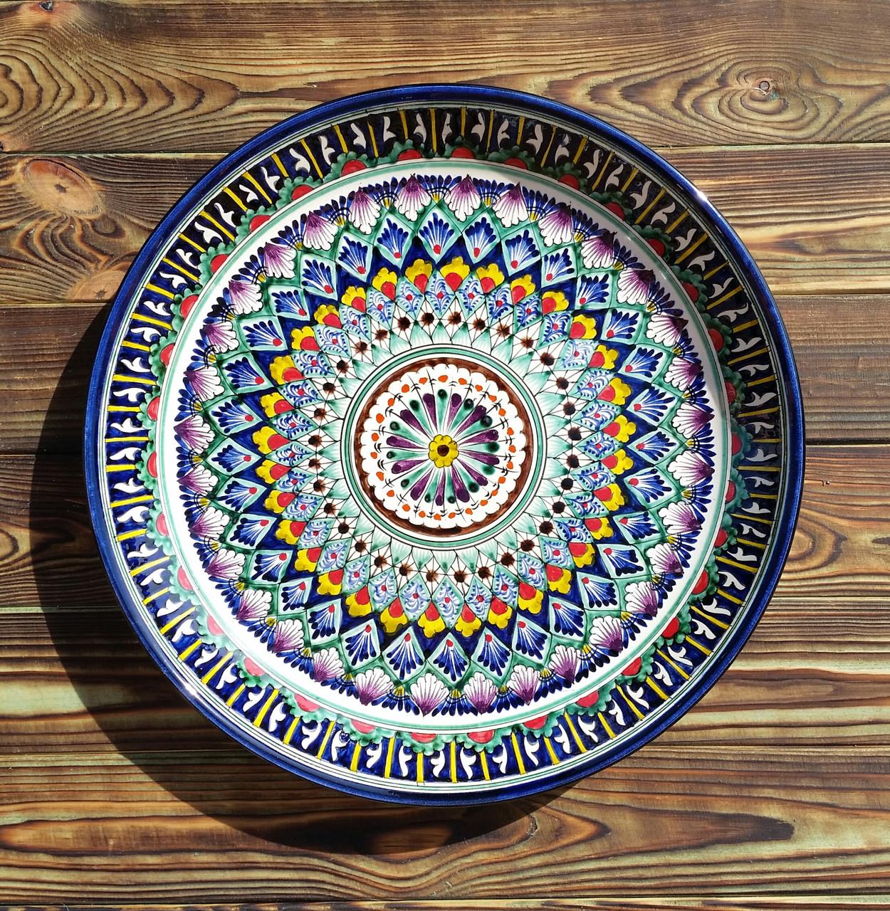 Классический ляган из керамики d 37 см. Риштан, Узбекистан