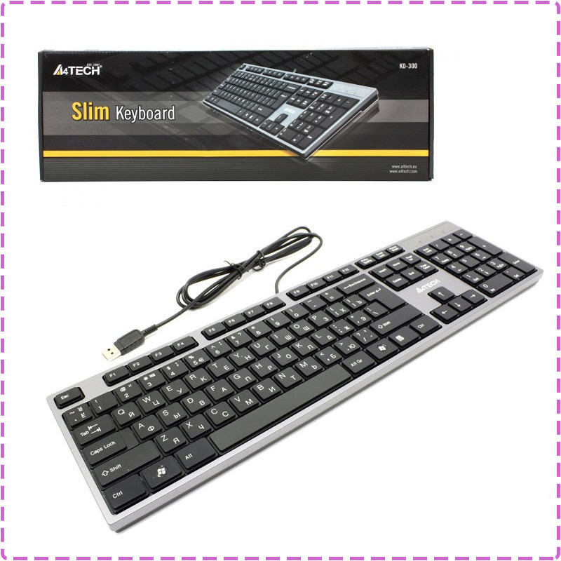 Клавиатура A4tech KD-300 X-SLIM USB GRAFIT-CZARNA