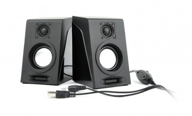 Колонки 2.0 Gembird SPK-DU-03 Black, 2 x 3 Вт, пластиковый корпус, питание от USB, управление спереди