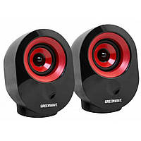 Колонки 2.0 GreenWave SA-603 Black-Red, Sat: 2x3Вт, 80-20000Hz, пластик, RCA, USB