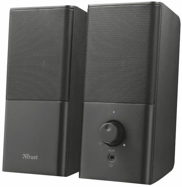 Колонки 2.0 Trust Teros Black, USB, сателлиты 2 x 3 Вт, 150-20000Hz, пластик, управление спереди, выход на наушники