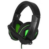 Игровые наушники с микрофоном Gemix N2 LED Gaming Black/Green, игровая гарнитура, кабель 1.2 м