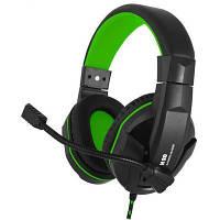 Игровые наушники с микрофоном Gemix N20 Gaming Black/Green, игровая гарнитура, кабель 1.2 м