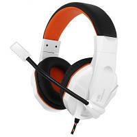Игровые наушники с микрофоном Gemix N20 Gaming White/Black/Orange, игровая гарнитура, кабель 1.2 м