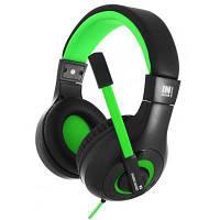 Игровые наушники с микрофоном Gemix N3 Gaming Black/Green, игровая гарнитура, кабель 1.2 м