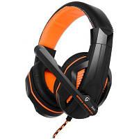 Игровые наушники с микрофоном Gemix X-370 Gaming Black/Orange, игровая гарнитура, кабель 2.4 м