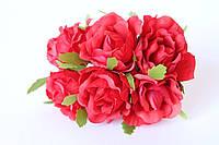Декоративные цветы розы (эустомы) 36 шт/уп. оптом диаметр 5 см красного цвета, фото 1