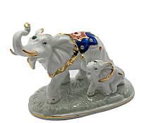 Слоны пара фарфор (13,5х11,5х7 см)(B1976)