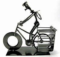 "Техно-арт подставка под ручки ""Велосипедист"" металл (19х21х7,5 см)(C103)"