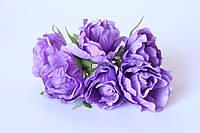 Декоративные цветы розы (эустомы) 36 шт./уп. оптом диаметр 5 см фиолетового цвета