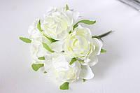 Декоративные цветы розы (эустомы) 36 шт/уп. оптом диаметр 5 см молочного цвета, фото 1