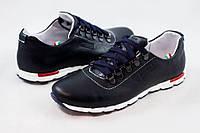 646b768a Кожаные мужские туфли кроссовки в стиле GS синие размеры 40, 41, 42, 43