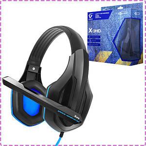 Игровые наушники с микрофоном Gemix X-340 Gaming Black/Blue, игровая гарнитура
