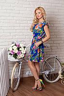 Платье летнее 859 ярко синее с цветами короткое шёлковое свободного кроя  с рукавами крылышками