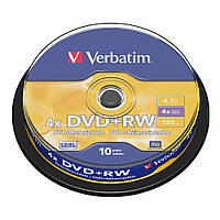 Диски DVD+RW 10 шт. Verbatim, 4.7Gb, 4x, Cake Box (43488)