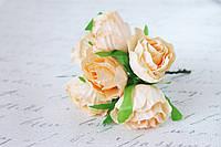 Декоративные цветы розы (эустомы) 36 шт/ уп. оптом диаметр 4,5-5 см  персикового цвета