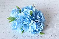 Декоративные цветы розы (эустомы) 36 шт/уп. оптом диаметр 4,5-5,5 см голубого цвета
