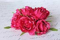 Декоративные цветы розы (эустомы) 36 шт/уп. оптом диаметр 4,5-5,5 см малинового цвета, фото 1
