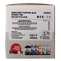 Комплект чернил Barva Epson T081x, C/M/Y/K/LM/LC, 6 x 90 г чернил (E081-090-MP), краска для принтера эпсон