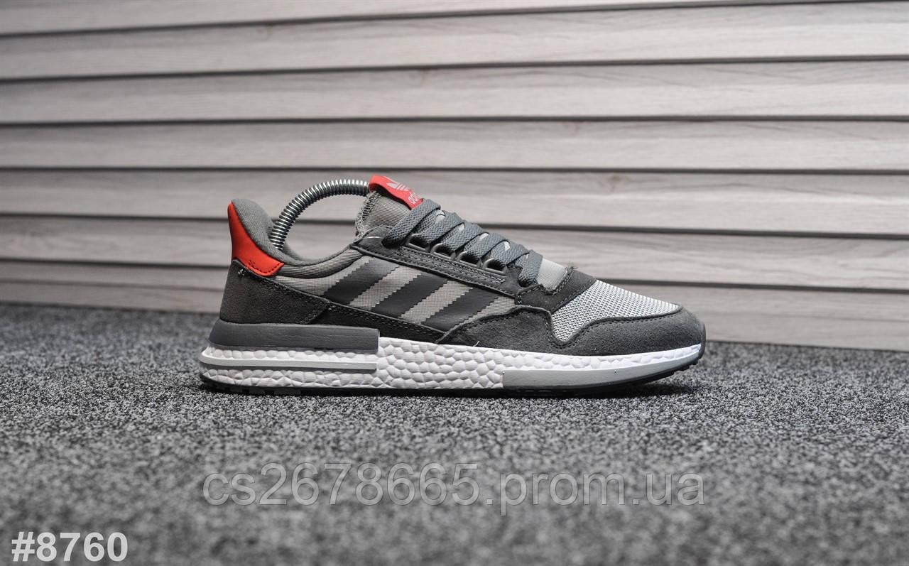 Мужские кроссовки Adidas ZX 500 New Gray Red 8760