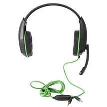 Наушники Gemix W-330 Gaming Black/Green, 2 x Mini jack (3.5 мм), накладные, регулятор громкости, кабель 2.4 м, фото 2