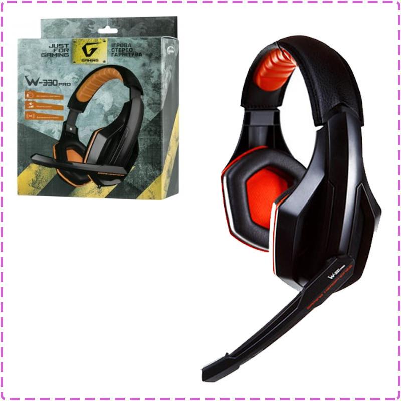 Игровые наушники с микрофоном Gemix W-330 Pro Gaming Black, игровая гарнитура