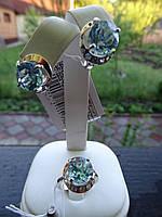Набор серебряный с золотыми пластинами и голубыми топазами