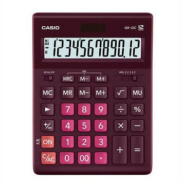 Калькулятор Casio  GR-12C-WR-W-EP бухгалтерский 12р., бордовый