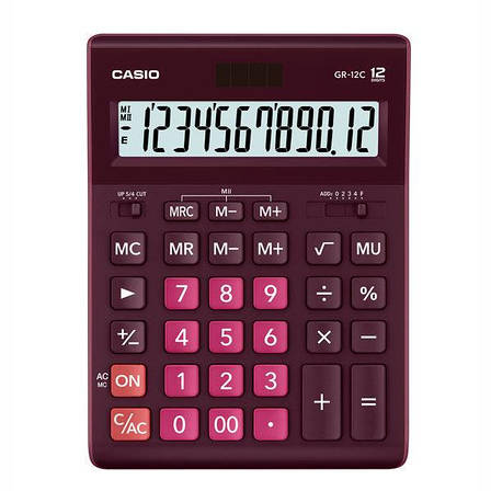 Калькулятор Casio  GR-12C-WR-W-EP бухгалтерский 12р., бордовый, фото 2
