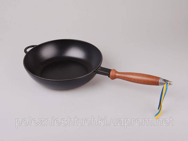 Сковорода-сотейник эмалированный чугун 24х6 см. Ситон (Черная)