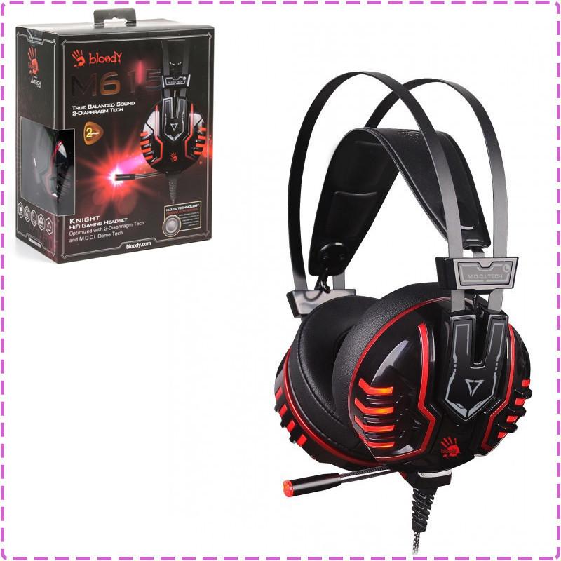 Игровые наушники с микрофоном Bloody M615 Black, игровая гарнитура