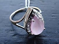 Кольцо серебряное с натуральным розовым улекситом