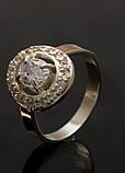 Кольцо серебряное с золотыми вставками, фото 3