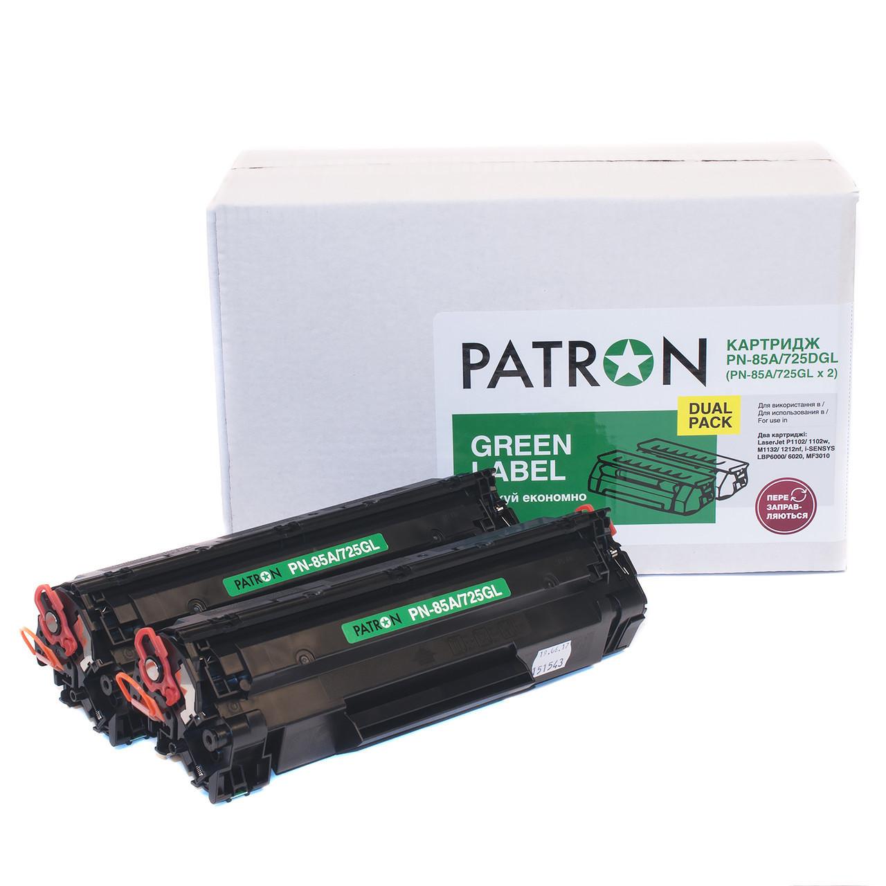 Комплект 2 картриджа Canon 725, Black, LBP-6000/6020, MF3010, ресурс 1600 листов, Patron