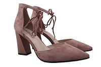 Туфли женские летние на каблуке Geronea натуральная замша, цвет розовый