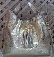 Прекрасная женская сумка из натуральной кожи цвета золота, фото 1