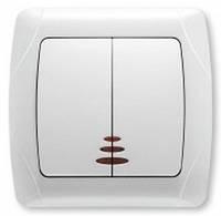 Выключятель 2-х кл. с подсветкой (carmen) белый