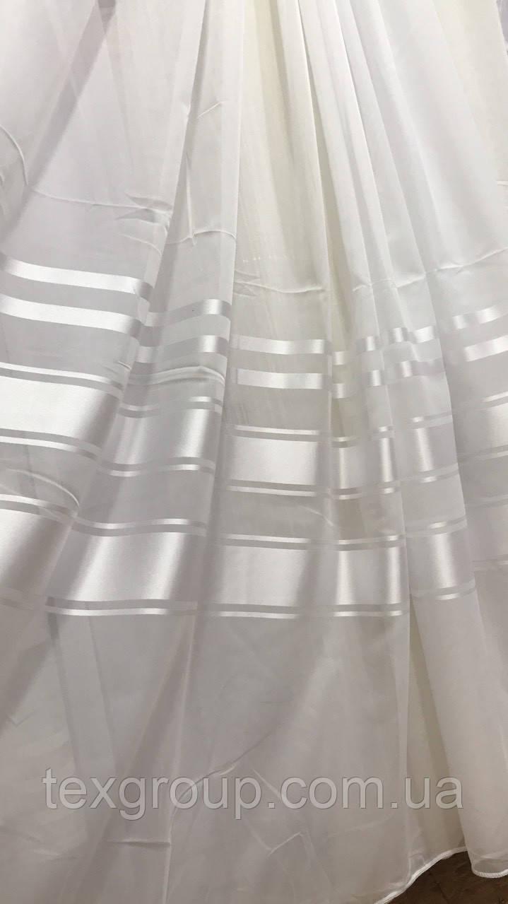 Тюль шифоновая с атласной полосой