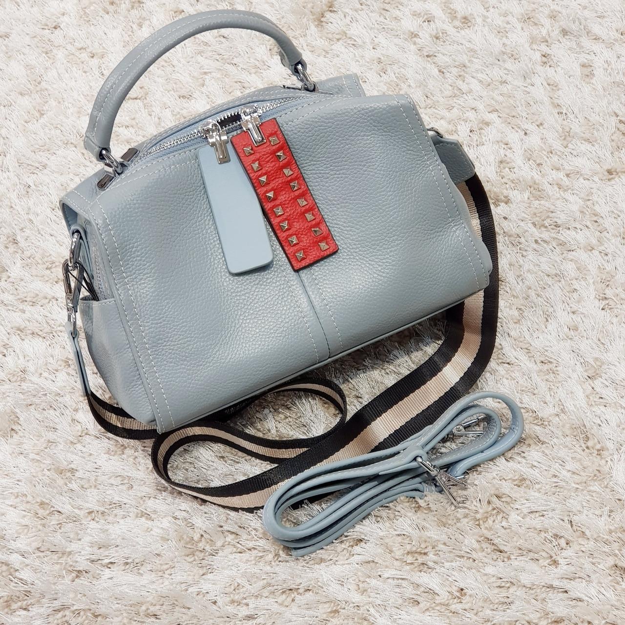 Женская маленькая сумка голубо-серая