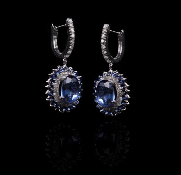 Сережки з білого золота з сапфірами і діамантами С19Л1№22