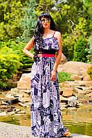 Модный женский длинный сарафан на бретельках
