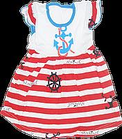 Детское летнее платье с морским принтом, хлопок (кулир), ТМ Ромашка, р. 110, Украина