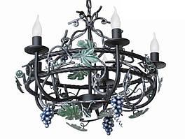 """Люстра кованая  """"Дионис"""" цвет черный бархат+старое серебро на 5 ламп"""