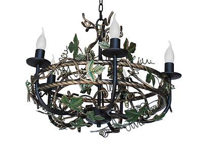"""Люстра кованая  """"Дионис"""" цвет старая бронза+чорный бархат на 8 ламп, фото 2"""