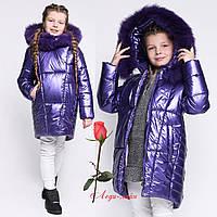 Пуховик для девочки из плащевки фольги  GT 8283 в расцветках