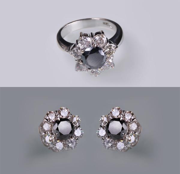 Кільце і сережки з чорними діамантами С19Л1№20-21